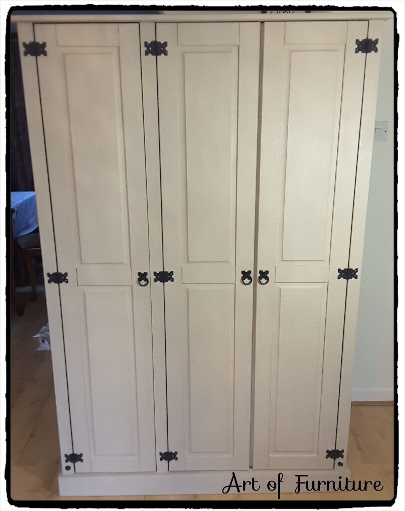 Corona Mexican Pine 3 Door Flat Top Wardrobe Hand Painted in Butterscotch Chalk Paint.