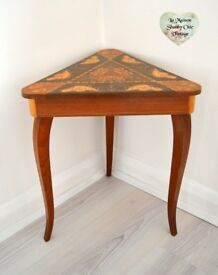 Antique Triangle Table with Lid and Storage Musical Windup Reuge Vintage Teak