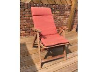 4 Reclining Hardwood Garden Chairs with Pads