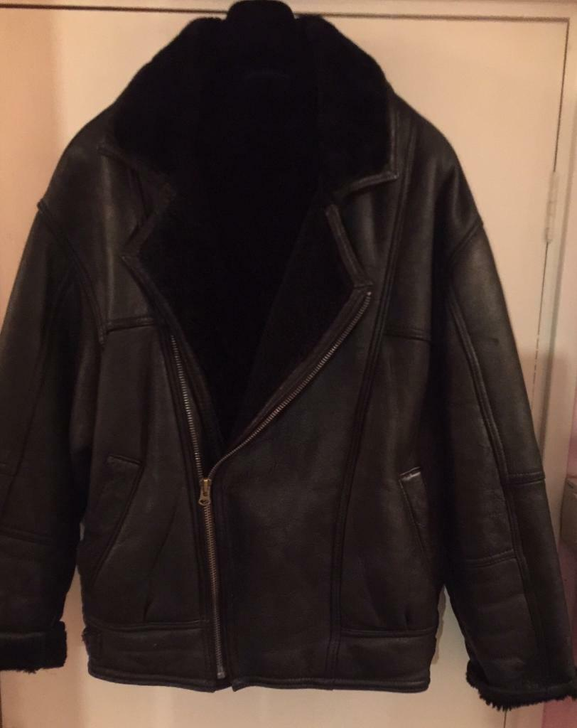 44f52ed8f Rare original black leather and real sheepskin pilot jackets size XL44-46