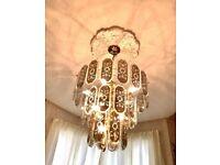 Elegant Ceiling Glass Chandelier Lights x2