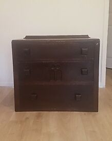 Small Dark Wood Vintage Chest of Drawers Dresser - Ideal for Upcycling