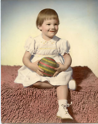 Photo Holding Ball - Antique Photo - 1950's ?-Cute Little Girl Holding Ball