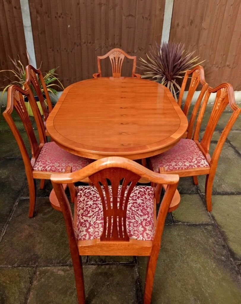 Real Yew Wood Extendable Dining Table With 8 Chairs With Red U0026 Gold  Patterned Seats Good