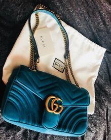 Gucci marmont bag chevron blue
