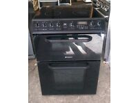 6 MONTHS WARRANTY Black Hotpoint Cread 60cm, double oven electric cooker FREE DELIVERY