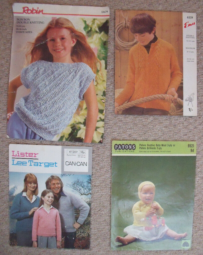 109424a5d 4 x vintage (1960s 70s) knitting patterns - baby
