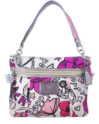 New Coach Poppy Signature Petal Pink White Floral Crossbody Hippie Purse 17050