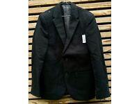 Men's SMALL Black Moleskin Cotton Jacket Blazer [38 inch Chest]