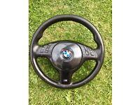 Rare BMW E46 M Sport steering wheel Full Piano Black e39 e53 x5 m3 coupe convertible