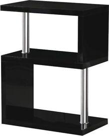 *BRAND NEW BUILT*Black High Gloss/*Free Delivery*Chrome 3 Shelf Display Unit W650mm x D400mm x H240m