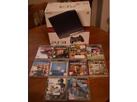 Ps3 with 10 games and one extra wireless controller, comes in original box