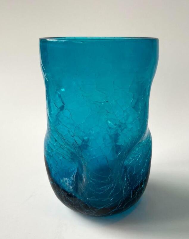 Vintage Blenko 418S Tumbler Pinched Dimple Crackle Art Glass Turquoise Aqua Blue