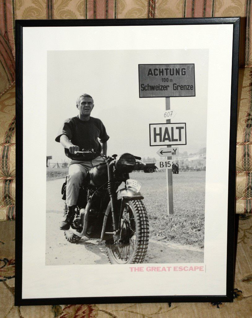 Steve McQueen on motor bike. Iconic scene from The Great Escape.
