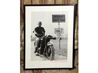 Steve McQueen on motor bike. Iconic scene from The Great Escape.
