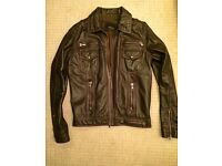 Genuine 100% leather DESIGNER ZARA SPRING jacket like new, rrp £150 selling for £50
