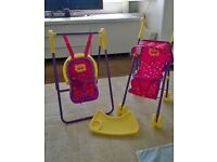 Peppa Pig playset. Includes pushchair, swing, car seat / feeding chair. As new