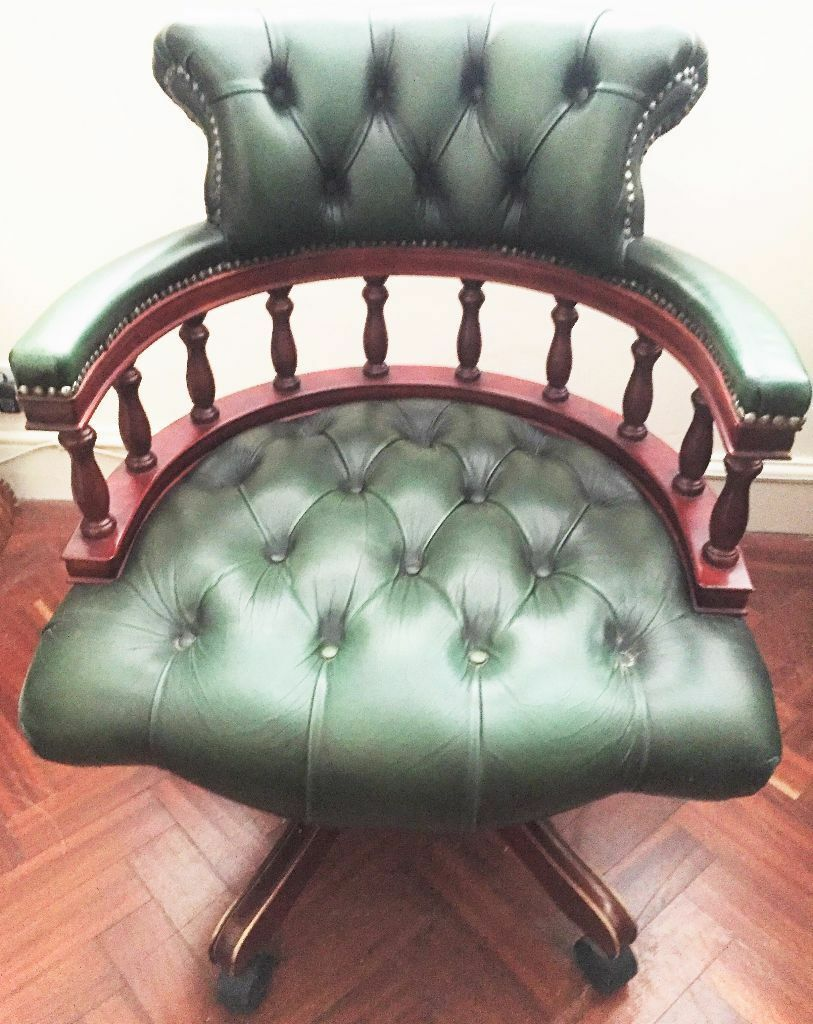 high quality chesterfield green leather buttoned captains swivel