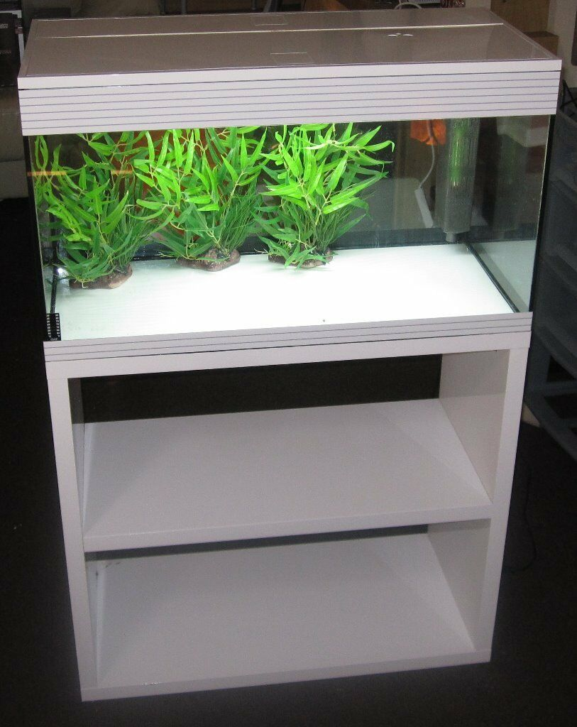 askoll xl 98 litre gloss white aquarium with integrated filter heater and light