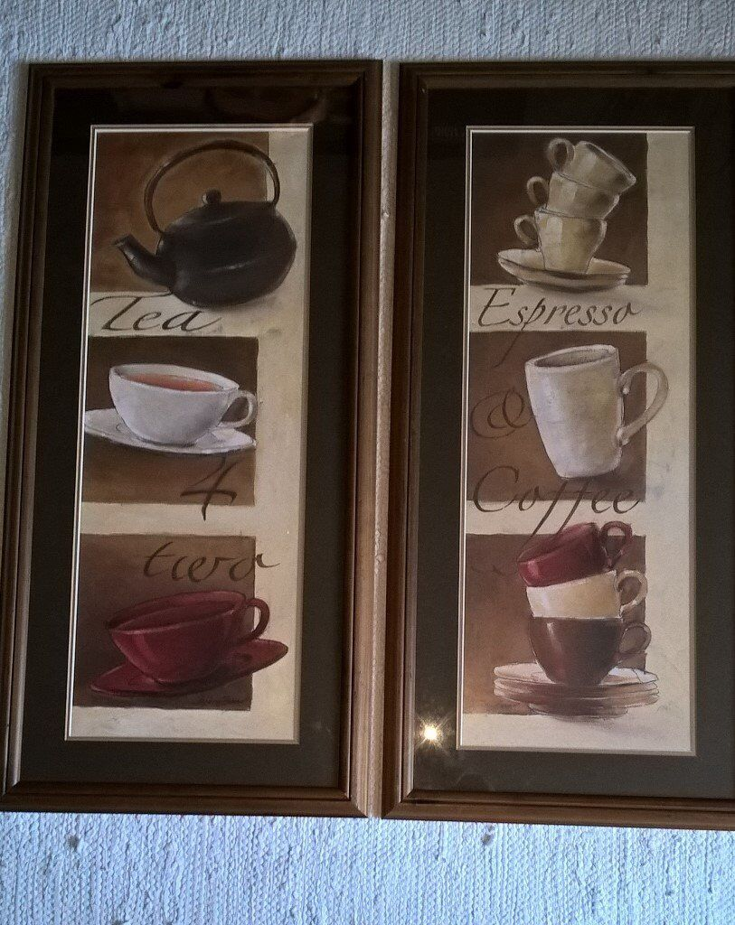 Two Cafe style pictures. Mounted and framed. Coffee and Tea cups