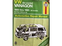 Haynes Manual for VW Air Cooled Vanagon 1980 to 1983 2.0 litre