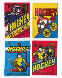 4 Different NHL O-Pee-Chee WAX WRAPPERS 1970's to Mid 1980's