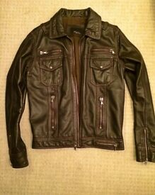 Genuine 100% leather DESIGNER ZARA jacket like new, rrp £150 selling for £50