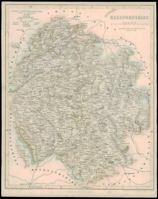 1842 - Original Antique Map of HEREFORDSHIRE by Fisher      (10)