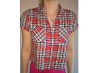 Top Shop Cropped Checked Shirt