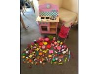 Can deliver pink wooden toy play kitchen food dolls pushchair & accessories