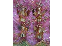 *Christmas Gold Angels Set x 4: Musical Instruments: Decorations/ Tableware/ Ornaments/ Collectors