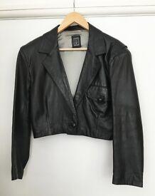 Ladies Vintage 80's Black Real Leather Jacket UK 14 (fit 12 as well)