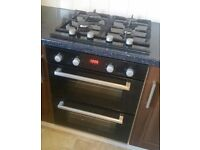 COOKE & LEWIS Black Electric Double Oven and gas hob