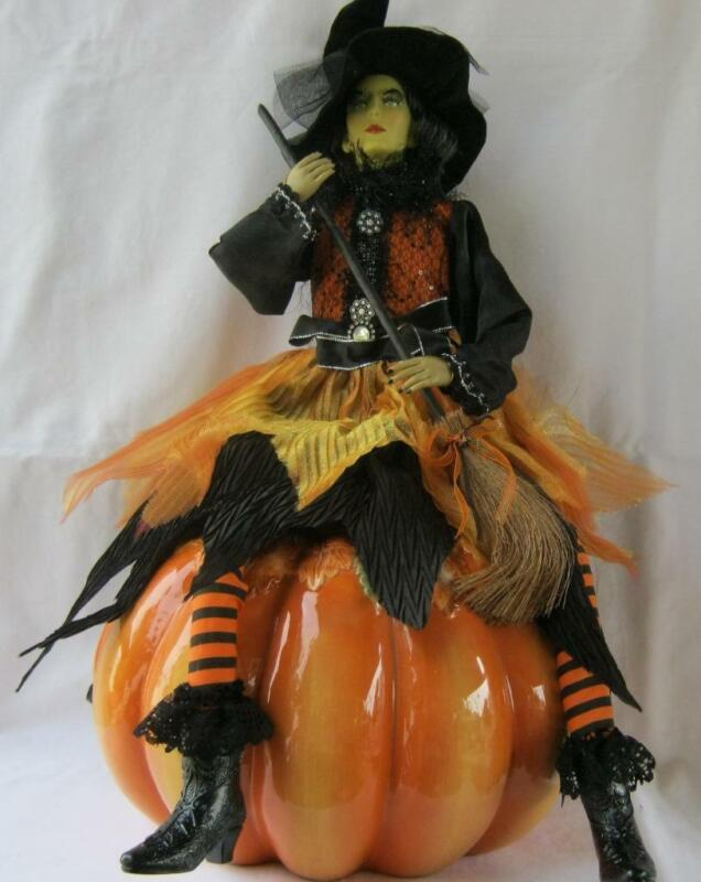 Large Halloween Witch Doll with Broom and Hat and vibrant black orange color