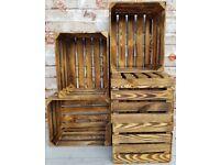 6 Strong&Solid Vintage Wooden Fruit Apple Crates Boxes BUR EFFECT !