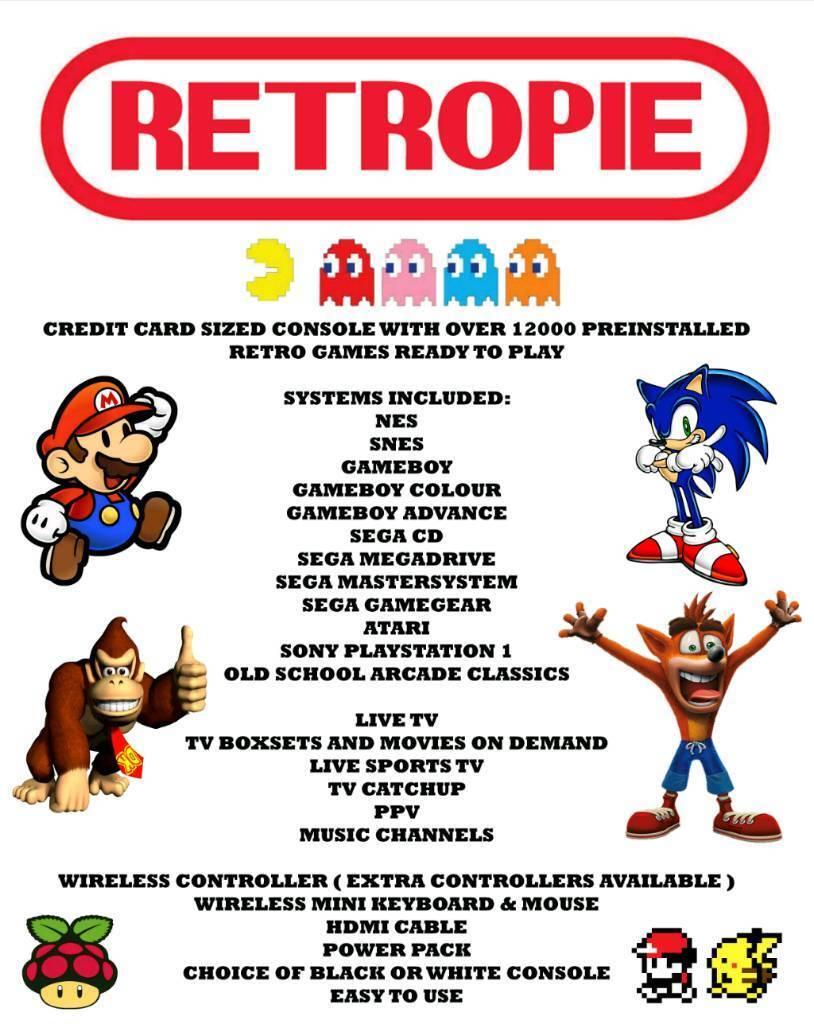 Retro Games Console 64gb SNES NES GB GBA PS1