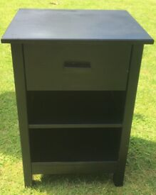 Black bedside table with drawer and shelf
