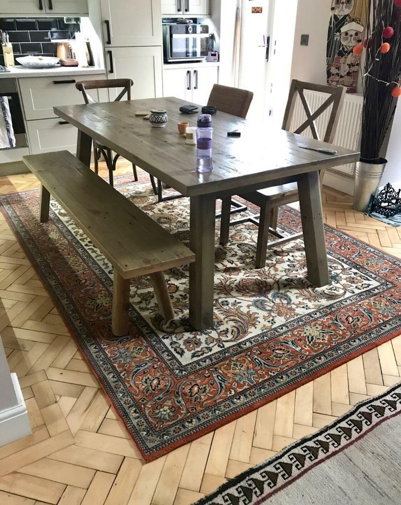 fcf26b94dd Industrial Large table + 3 chairs + bench | in Clifton, Bristol | Gumtree