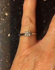 DVS1 Platinum single solitaire diamond ring. 0.51 carrots. Size L.