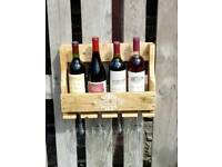 RUSTIC PALLET WOOD WALL HANGING WINE RACK AND GLASS HOLDER