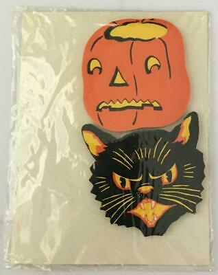 ORIGINAL DENNISON'S HALLOWEEN DIE CUT SEALS  18 EACH SCARY PUMPKINS & BLACK CATS