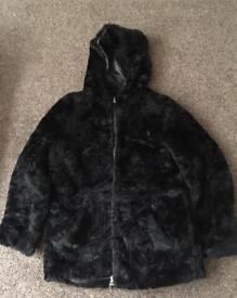 Ladies NEXT black faux fur winter coat size 12
