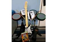 Rockband Instrument Set with guitar hero world tour Xbox 360 game