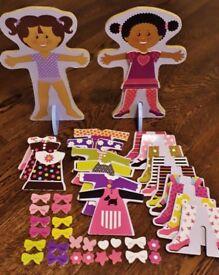 2 Magnetic Wooden Dress-Up Doll sets