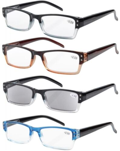 4-pack Rectangular Reading Glasses with Spring Hinges Includes Sun Readers