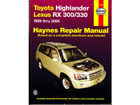 AYNES TOYOTA HIGHLANDER & LEXUS RX-330 SERVICE & REPAIR MANUAL 1999 - 2006