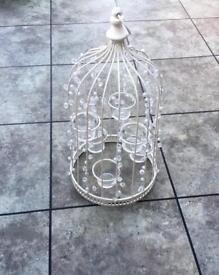 Birdcage candle table decoration - cream