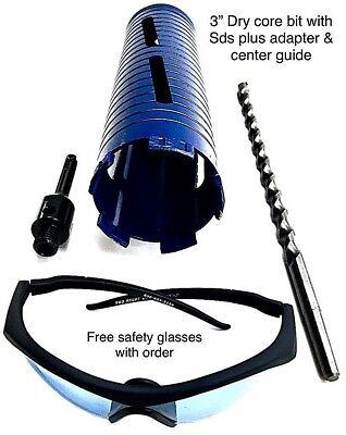 3 Dry Core Bit Sds Plus Adapter Pilot Bit Fits Rotary Hammer Drill