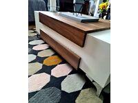 Modern, contemporary, super stylish white/walnut coffee table