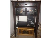 Small console table. Beautiful African hand painted with drawer ans small cupboard